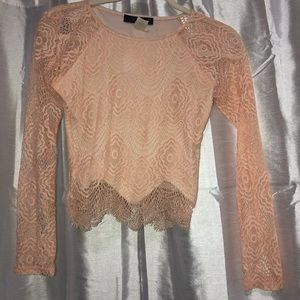 Light pink longsleeve lace crop top - size: small